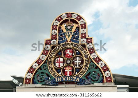 LONDON - JUNE 16, 2015: Symbol of the LCDR from the first Blackfriars Railway Bridge. The London, Chatham and Dover Railway-LCDR was a railway company in England created in 1859. - stock photo
