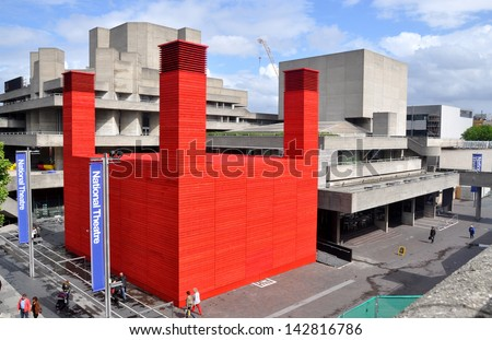 LONDON - JUNE 15. 'The Shed' is the National Theatre's temporary timber venue celebrating performances that are adventurous, ambitious and unexpected on June 15, 2013, at the South Bank, London, UK. - stock photo