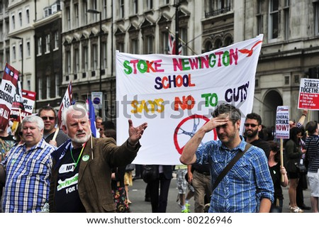 LONDON - JUNE 30; Unidentified members of trade unions demonstrate emotionally against government proposed cuts during a demonstration  organised by trade unions in London on June 30, 2011