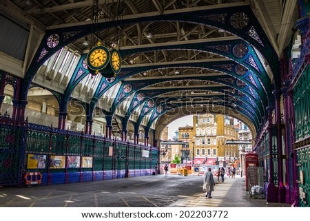 LONDON - June 13 : West Smithfield meat market pictured on June 13rd, 2014, in London, UK. The market is the largest meat market in the UK and one of the largest of its kind in Europe - stock photo