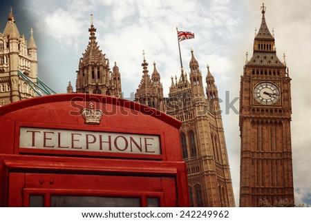 London landmark symbols collage with retro filter effect - stock photo