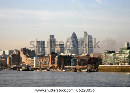 London Landscape View seen from North Bank of Tower Bridge - stock photo