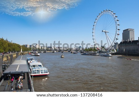 LONDON, MAR  23: A panoramic view of the River Thames and the London Eye, March 23, 2013 in London. The London Eye is one of London's most famous attractions in the world.