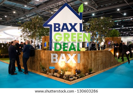 LONDON - MAR 6: Baxi stand during Ecobuild 2013 at Excel in London, UK on March 6, 2013. Ecobuild is the world's biggest event for sustainable design, construction and the built environment. - stock photo