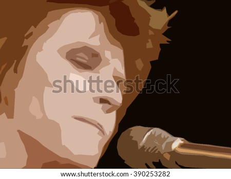LONDON - MAR 14, 2016: David Bowie face illustration on stage on Mar 14, in London - stock photo