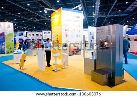LONDON - MAR 6: Spirotech stand during Ecobuild 2013 at Excel in London, UK on March 6, 2013. Ecobuild is the world's biggest event for sustainable design, construction and the built environment. - stock photo