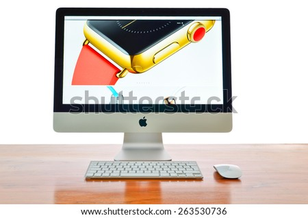 LONDON - MARCH 25: Apple iMac with the new iWatch displayed on the screen.  March 25, 2015 in London, UK. - stock photo