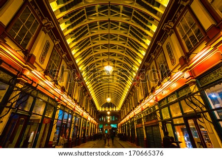 LONDON - MARCH 19: Leadenhall Market is a covered market in London ,It is one of the oldest marketsof the city, dating back to the 14th century. March 19, 2011 in London, UK. - stock photo
