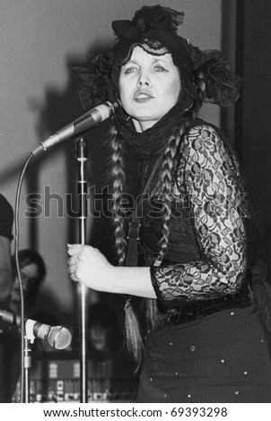 LONDON - MARCH 1: Lene Lovich, U.S. born pop singer,  performs live on stage on March 1, 1979 in London. She was signed to independent record label Stiff Records.