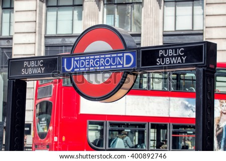 LONDON - MARCH 31, 2016: London Underground Subway Station Sign. TFL Tube Badge. - stock photo