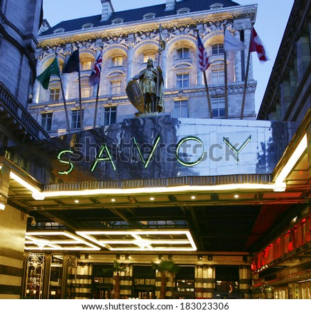LONDON - MARCH 7: Outside view of Savoy hotel, Britain's first luxury hotel in central London, opened in 1889 and closed in 2007 for renovations and reopened in Oct 2010, on March 7, 2014, London, UK. - stock photo
