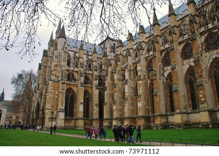 LONDON - MARCH 17: The exterior of Westminster Abbey on March 17, 2011 in London. The Abbey will be the venue for the wedding of H.R.H. Prince William and Kate Middleton in April 2011. - stock photo