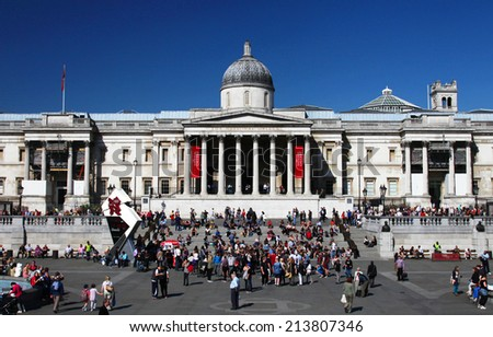 LONDON - MARCH 28: The National Gallery in Trafalgar Square in London, England on March 28, 2012. The National Gallery houses a collection of over 2,300 paintings. - stock photo