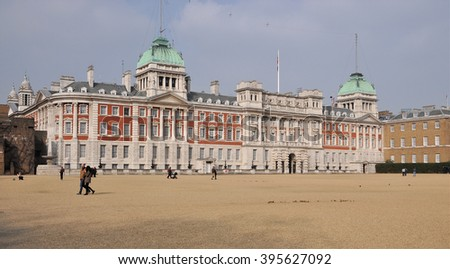 LONDON - MARCH 12, 2016. The Old Admiralty Building on the north side of Horse Guard's Parade, the site of the annual Trooping the Colour, for the monarch's birthday and other ceremonies in London. - stock photo