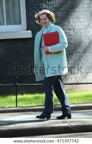 LONDON - MAY 3, 2016: Amber Rudd MP seen arriving for a cabinet meeting in Downing Street on May 3, 2016 in London