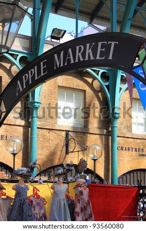 LONDON - MAY 23: Apple market insignia on May 23, 2010 in London. Apple market in Covent Garden is one of the main London attractions - stock photo