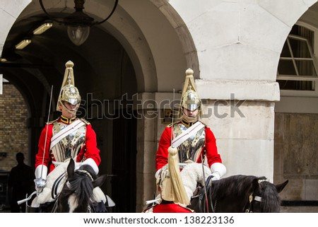 """LONDON - MAY 12 : """"Beating Retreat"""" Parade pictured on May 12th, 2013, in London, UK.  The tradition, dating from the 17th century, combines military music and drill on Horse Guards. - stock photo"""