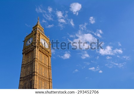 LONDON - MAY 14 2015:Big Ben clock tower. In 2012 - St. Stephen's Tower is renamed Elizabeth Tower in honor of Queen Elizabeth II's Diamond Jubilee, or 60th anniversary on the throne. - stock photo