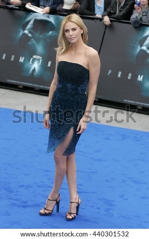 LONDON - MAY 31, 2012: Charlize Theron attends the Prometheus - UK film premiere at the Empire Leicester Square on May 31, 2012 in London - stock photo