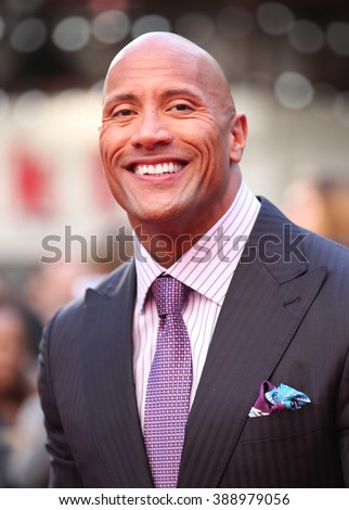 LONDON - MAY 21, 2015: Dwayne Johnson attends the World Premiere of San Andreas at the Odeon Cinema Leicester Square on May 21, 2015 in London - stock photo