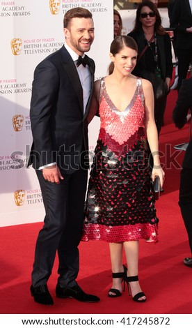 LONDON - MAY 8, 2016: Justin Timberlake and Anna Kendrick arrive for the House Of Fraser British Academy Television Awards at the Royal Festival Hall on May 8, 2016 in London - stock photo