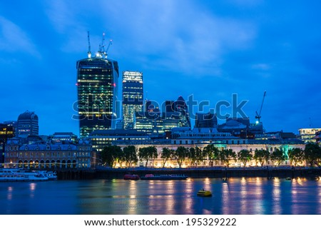 LONDON - MAY 26 : London cityscape and the Southwark riverside, pictured on May 26th, 2014, in London, UK. Charles Dickens set several of his novels here where he lived as a young man. - stock photo