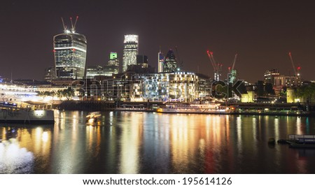 LONDON - MAY 14 : London cityscape and the Southwark riverside, pictured on May 14th, 2014, in London, UK. Charles Dickens set several of his novels here where he lived as a young man - stock photo