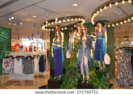 LONDON - MAY 4: mannequins in the H&M flagship store at Oxford Circus, London on May 4, 2014. - stock photo
