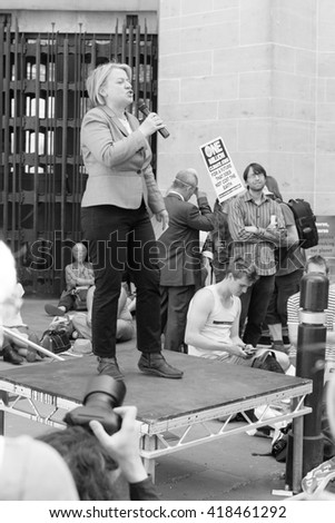 London - 08 May 2016: Natalie Bennett C Green Party Leader speaks to the protesters in London