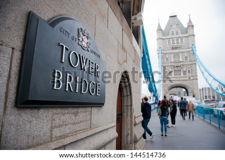 LONDON-MAY 21, 2013. Tower Bridge in London on May 21, 2013. Tower Bridge, One of the most famous bridges in the world.