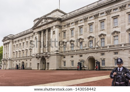LONDON - MAY 31: View of Buckingham Palace - famous landmark, on May 31, 2013 in London, England. Built in 1705, Palace is official London residence and principal workplace of British monarch. - stock photo