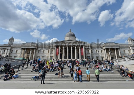 LONDON - MAY 30: View of the National Gallery from Trafalgar Square on May 30, 2015 in London, UK. With 16.8 million international arrivals in 2013, London is the 4th most visited city in the world.