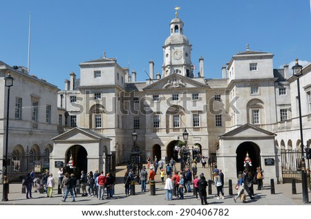 LONDON - MAY 13 2015:Visitors at Horse Guards.The building famous for the sentries who guard the entrance to the Horse Guards Parade ground the place of the daily ceremonial changing guards.