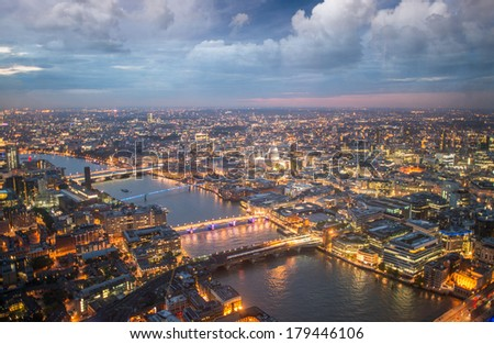 London night skyline aerial view with St Paul Cathedral. - stock photo