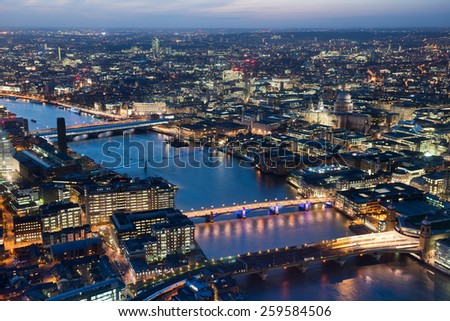 London night skyline  view with St Paul Cathedral