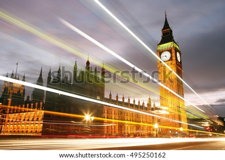 London Night View, Palace of Westminster at dawn with blurred motion of traffic lights