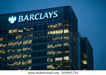 LONDON - NOV 28: Barclays offices in Canary Wharf in London on November 28, 2013. Full-time employees in the UK work longer hours than the EU average, according to the Office for National Statistics. - stock photo