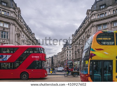 LONDON-NOV 09:View of Oxford Street on November 09, 2015 in London. Oxford Street is a major road in the West End of London, UK.