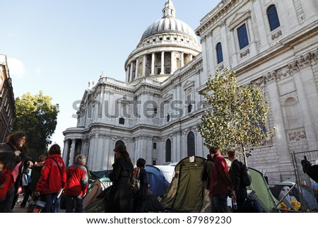 LONDON - NOVEMBER 1: Protesters' tents at the Occupy London Stock Exchange anti-capitalist protest on November 1, 2011 at St Paul's Cathedral churchyard in London, England.
