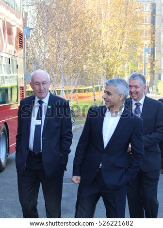 London, November 30th 2016 - London Mayor Sadiq Khan (centre) with Transport for London official Leon Daniels (left) and Mike Brown (right), London's transport commissioner