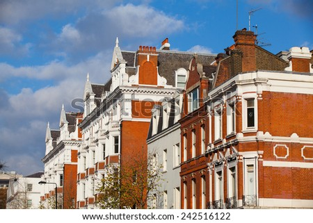 London November 17,2011:The Chelsea district - it  is an affluent area in central London,bounded to the south by the River Thames - stock photo