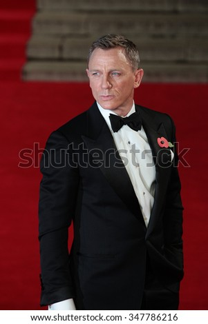 LONDON - OCT 26, 2015: Daniel Craig attends James Bond Spectre film premiere on Sep 26, 2015 in London - stock photo