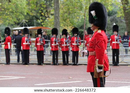 LONDON - OCT 21: General view along The Mall during the State visit by the president of Singapore on 21, Oct, 2014 in London - stock photo