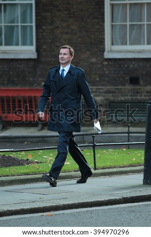 LONDON - OCT 13, 2015: Jeremy Hunt seen at 10 Downing Street on Oct 13, 2015 in London