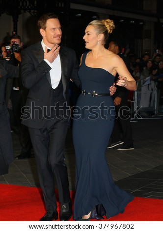 LONDON - OCT 18, 2015: Kate Winslet and Michael Fassbender attend the Steve Jobs premiere and closing night gala, 59th BFI London Film Festival at the Odeon Leicester Square on Oct 18, 2015 in London
