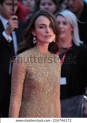 LONDON - OCT 8: Keira Knightley attends a screening of The Imitation Game on the opening night gala of the 58th BFI London Film Festival at Odeon Leicester Square on 8, Oct, 2014 in London - stock photo