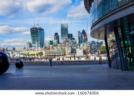 LONDON - OCT 5 : London cityscape and the Southwark riverside, pictured on October 5th, 2013, in London, UK. Charles Dickens set several of his novels here where he lived as a young man.  - stock photo