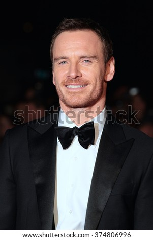 LONDON - OCT 18, 2015: Michael Fassbender attends the Steve Jobs premiere and closing night gala, 59th BFI London Film Festival at the Odeon Leicester Square on Oct 18, 2015 in London - stock photo