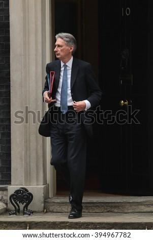 LONDON - OCT 13, 2015: Philip Hammond seen at 10 Downing Street on Oct 13, 2015 in London