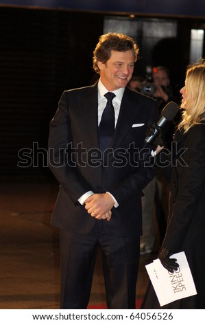 LONDON - OCTOBER 21: Colin Firth At The King's Speech Premiere October 21, 2010 in Leicester Square London, England.